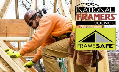 Framer working on a roof, National Framers Council logo and Frame Safe logo